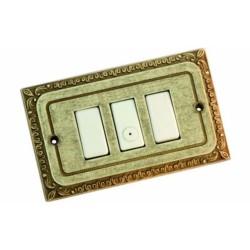 Placca Coprinterruttore 4 Posti In Ottone Con Decoro Mis.mm.160x70