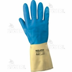 Guanti Bicolore Neolatex.tg.9/9,5 In Lattice Naturale- Col.giallo-blu