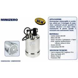Elettropompa Minizero Hp.0,33x Acque Chiare Cavo Mt.10 Portata 94 Lt/min