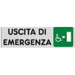Segnale Adesivo Cm.15x5 Uscita Di Emergenza ( Disabili Verso Destra)