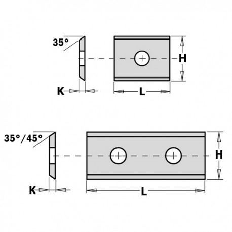 COLTELLO REVERSIBILE STD (2-35°) 20X12X1.5MM HW-S2